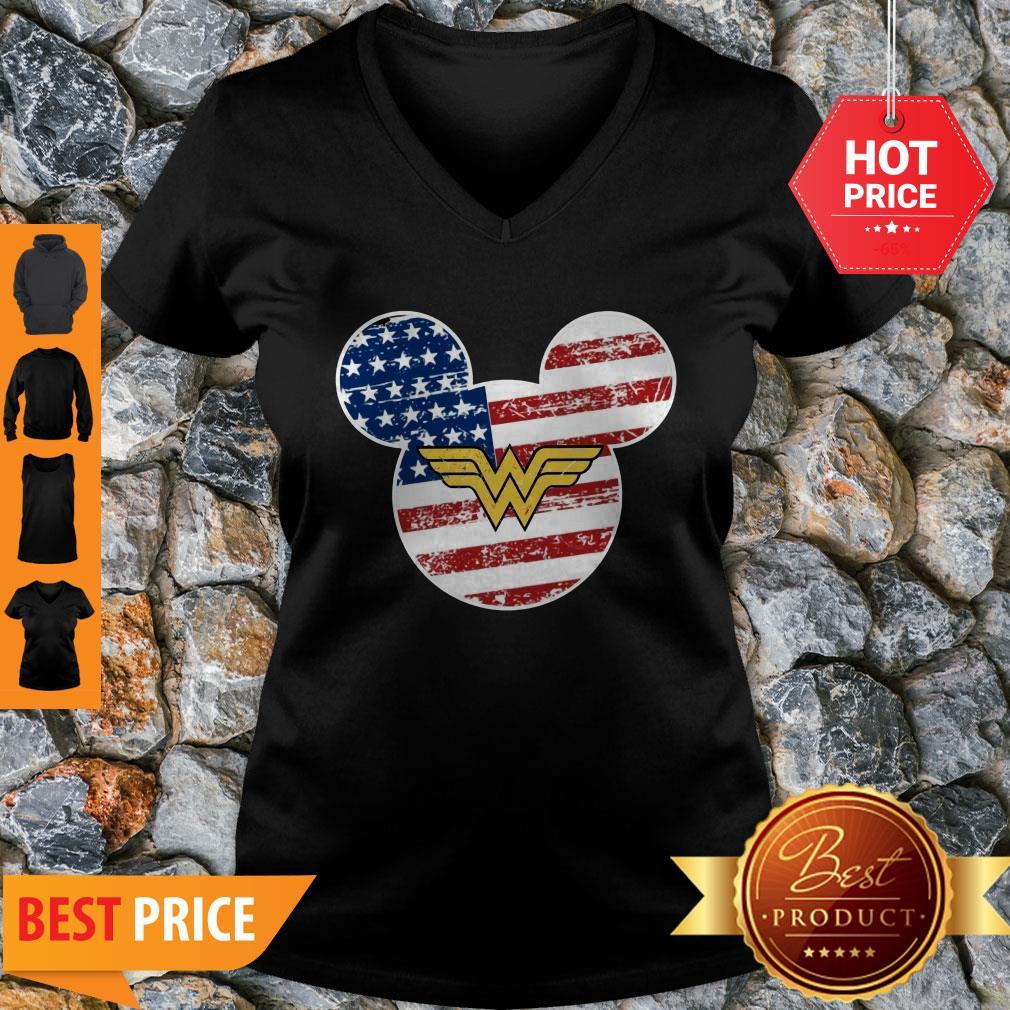 Nice Wonder Woman Disney Mickey Mouse V-neck