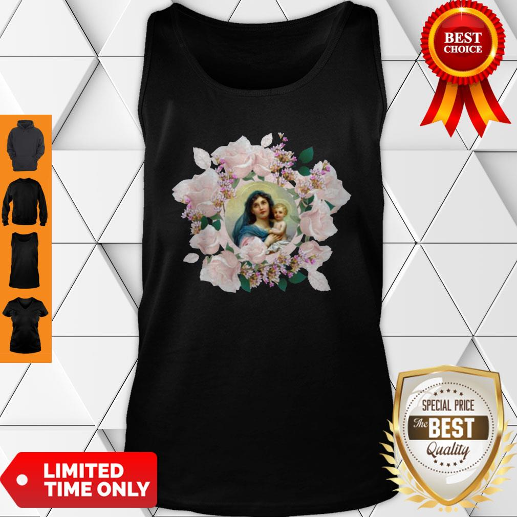 Premium Blessed Mother Mary And Jesus Flowers Tank Top - Design By Earstees.com