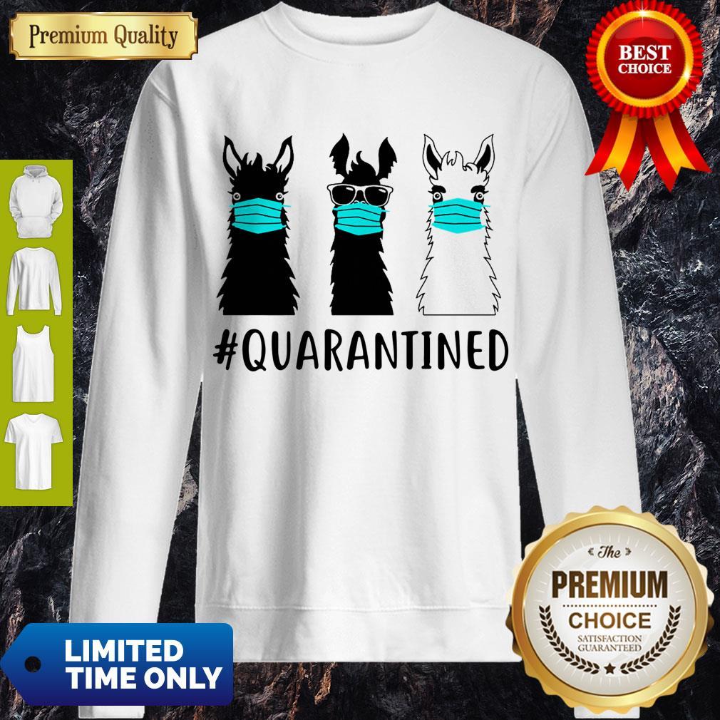 Awesome Llama Face Mask Quarantined Version Black White Sweatshirt