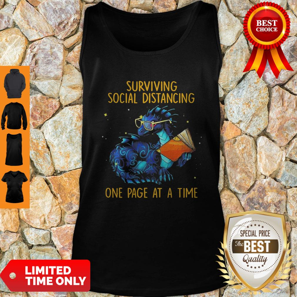 Nice Surviving Social Distancing One Page At A Time Dragon Tank Top