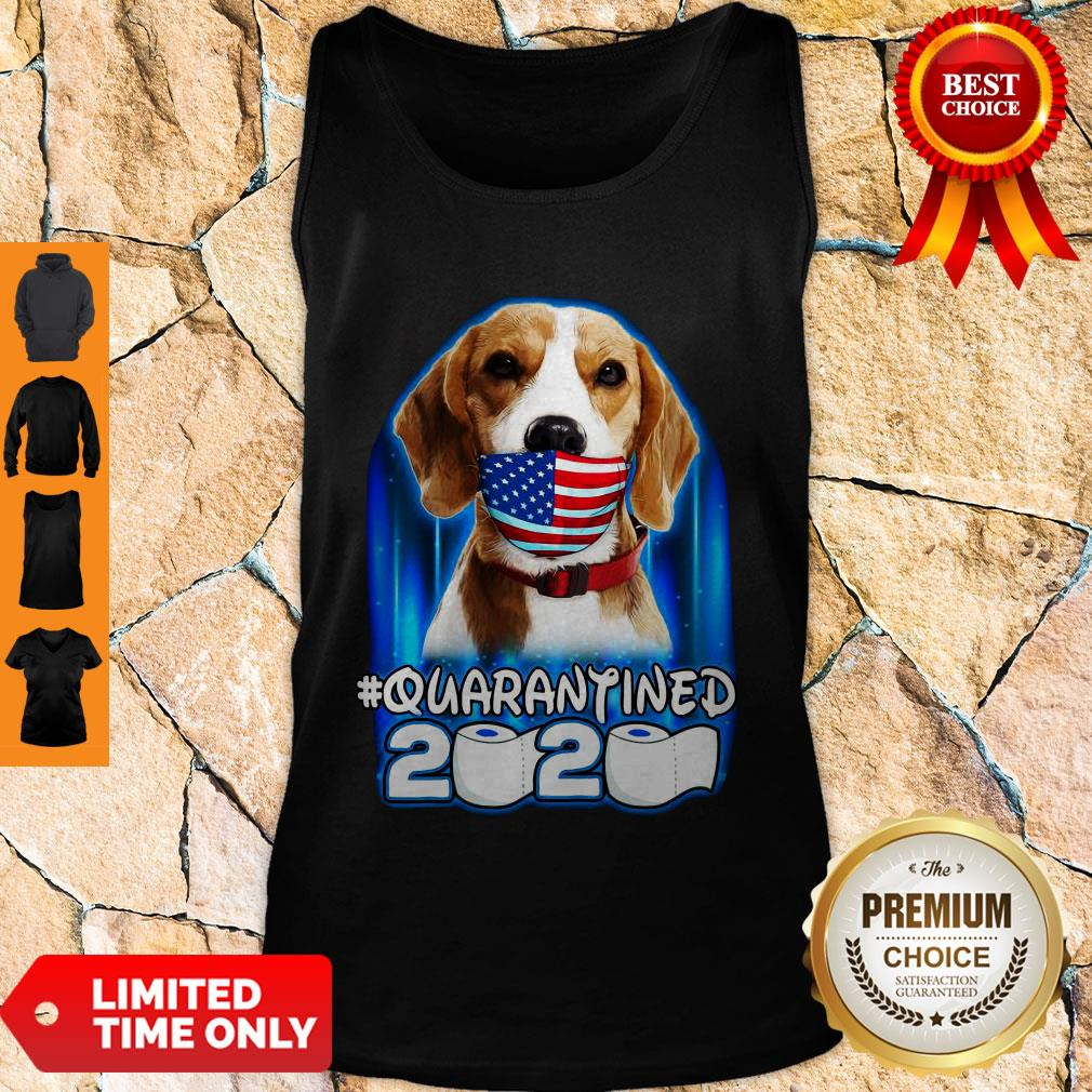 Funny Beagle Face Mask American Flag Quarantined 2020 Toilet Paper Tank Top