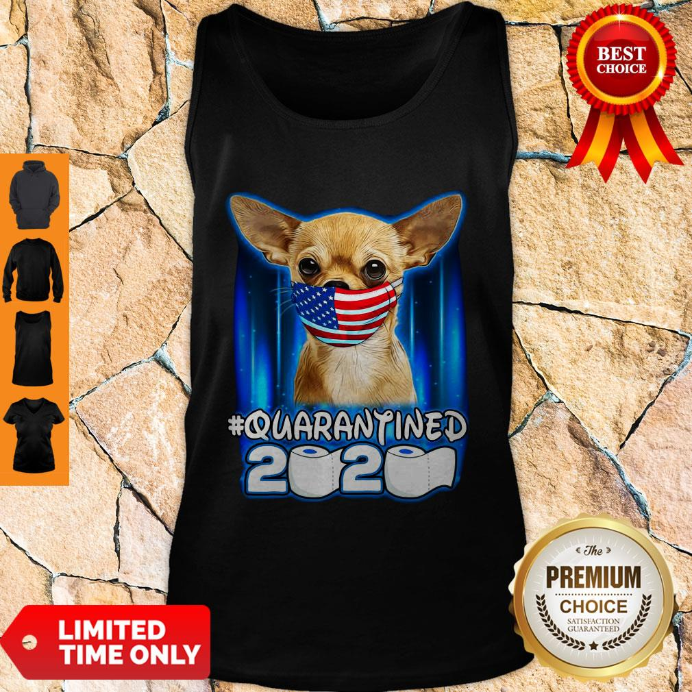 Funny Chihuahua Face Mask American Flag Quarantined 2020 Tank Top
