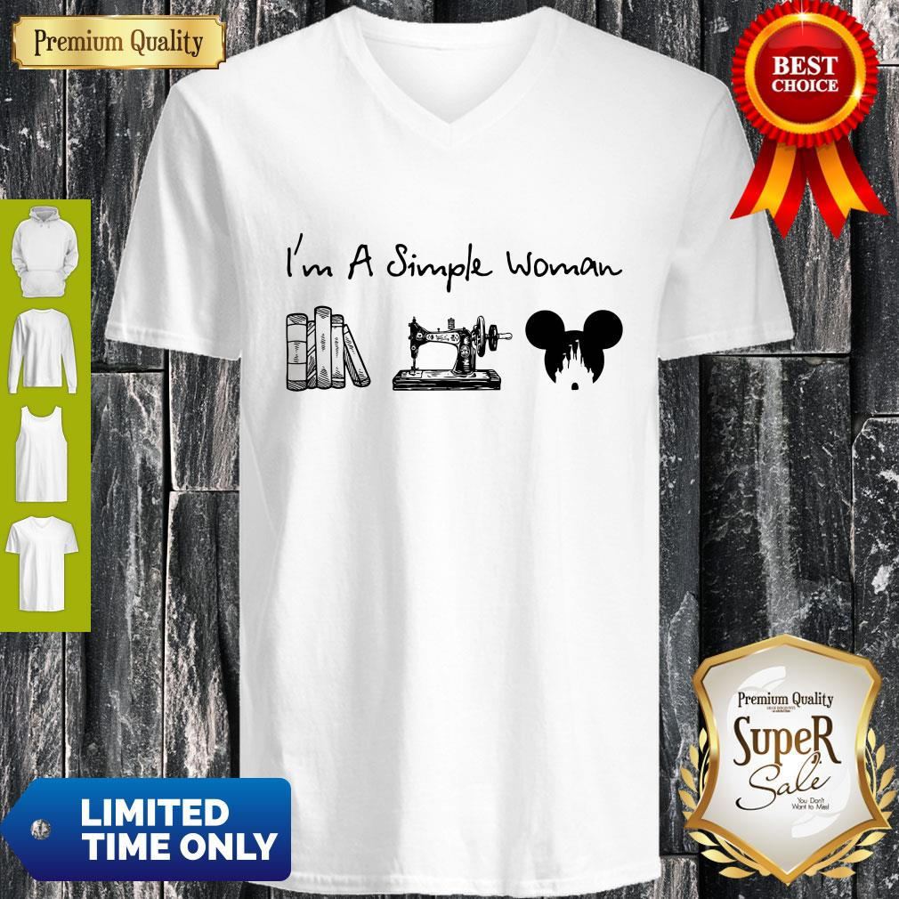 Premium I Am A Simple Woman Book Sewing Mickey Mouse V-neck