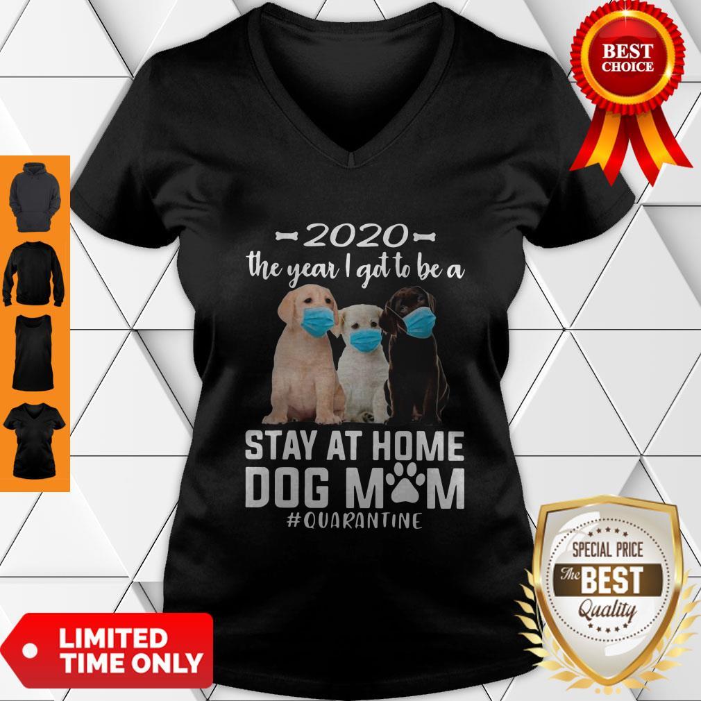 Awesome 2020 The Year I Got To Be A Stay At Home Labrador Retriever Dog Mom Quarantine V-neck