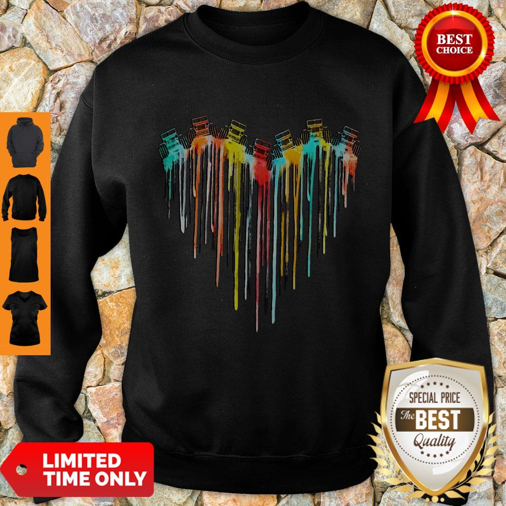 Awesome Colorful Dripping Heart Jeep Sweatshirt