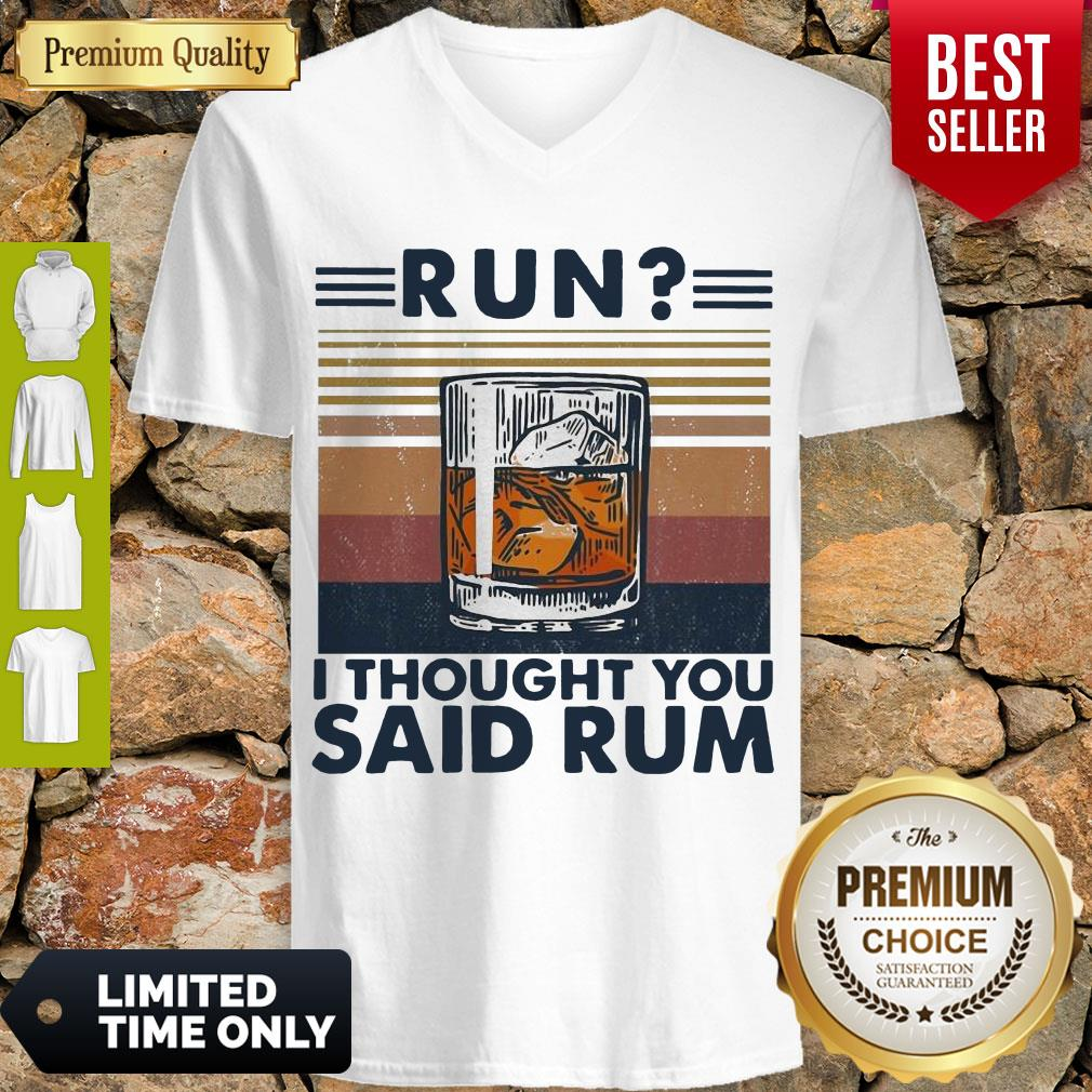 Awesome Run I Thought You Said Rum Wine Vintage V-neck