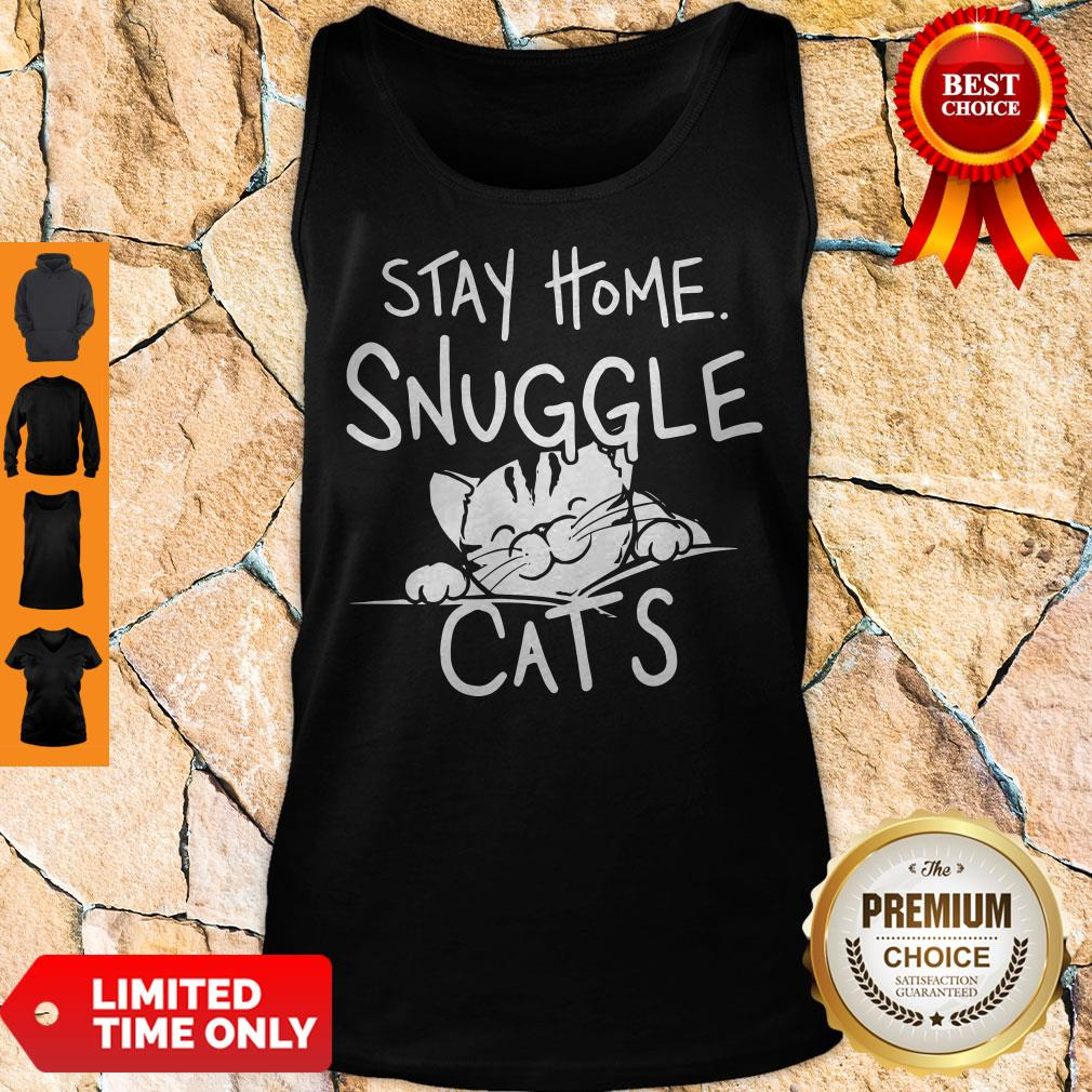 Nice Stay Home Snuggle Cats Tank Top - Design By Earstees.com