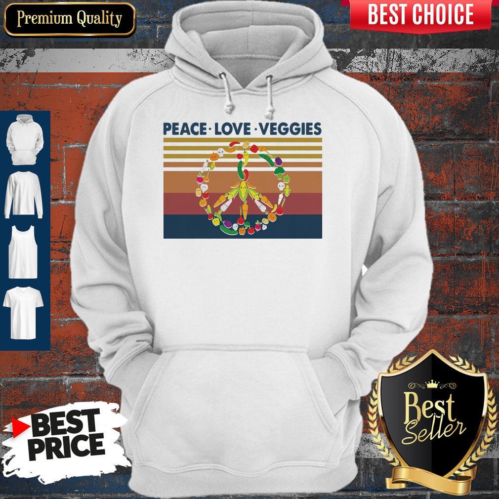 Peace Love Veggies Vintage Hoodie