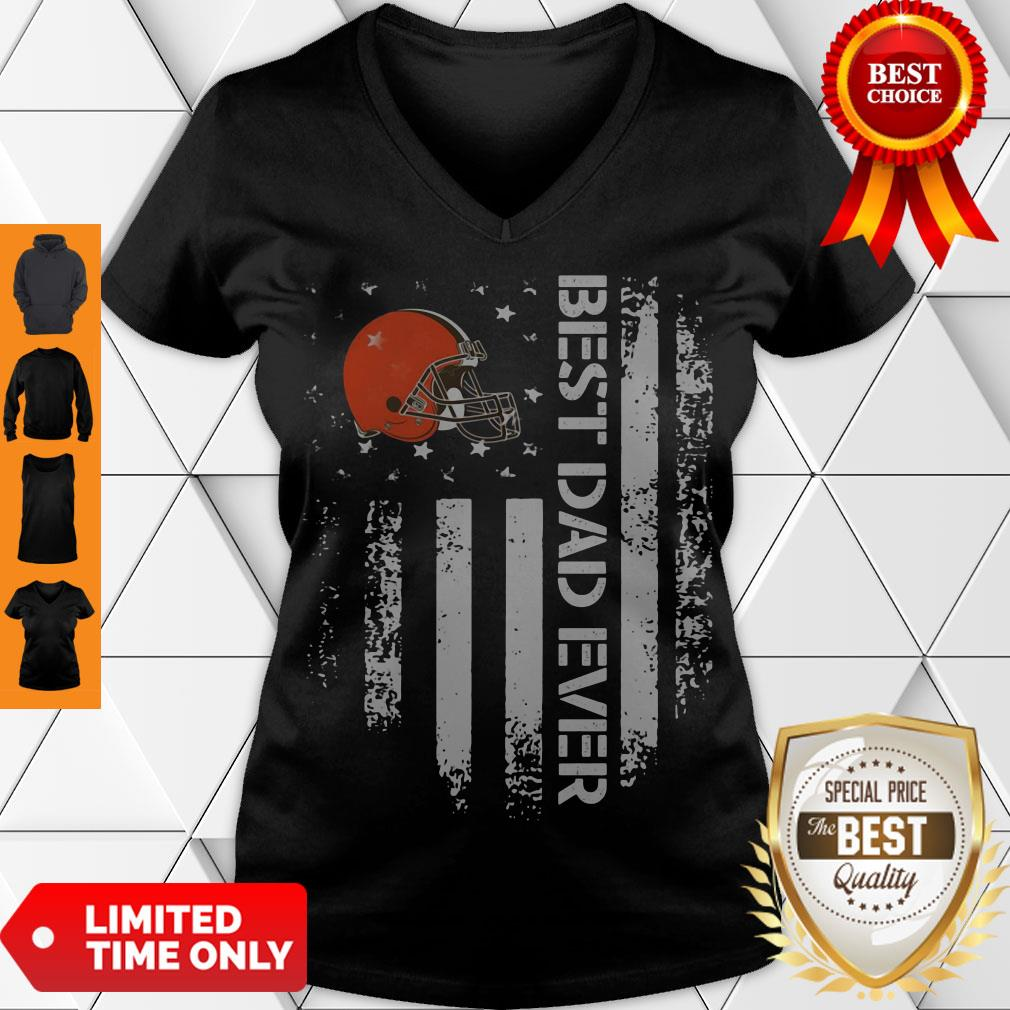 Perfect Cleveland Browns Best Dad Ever American Flag V-neck