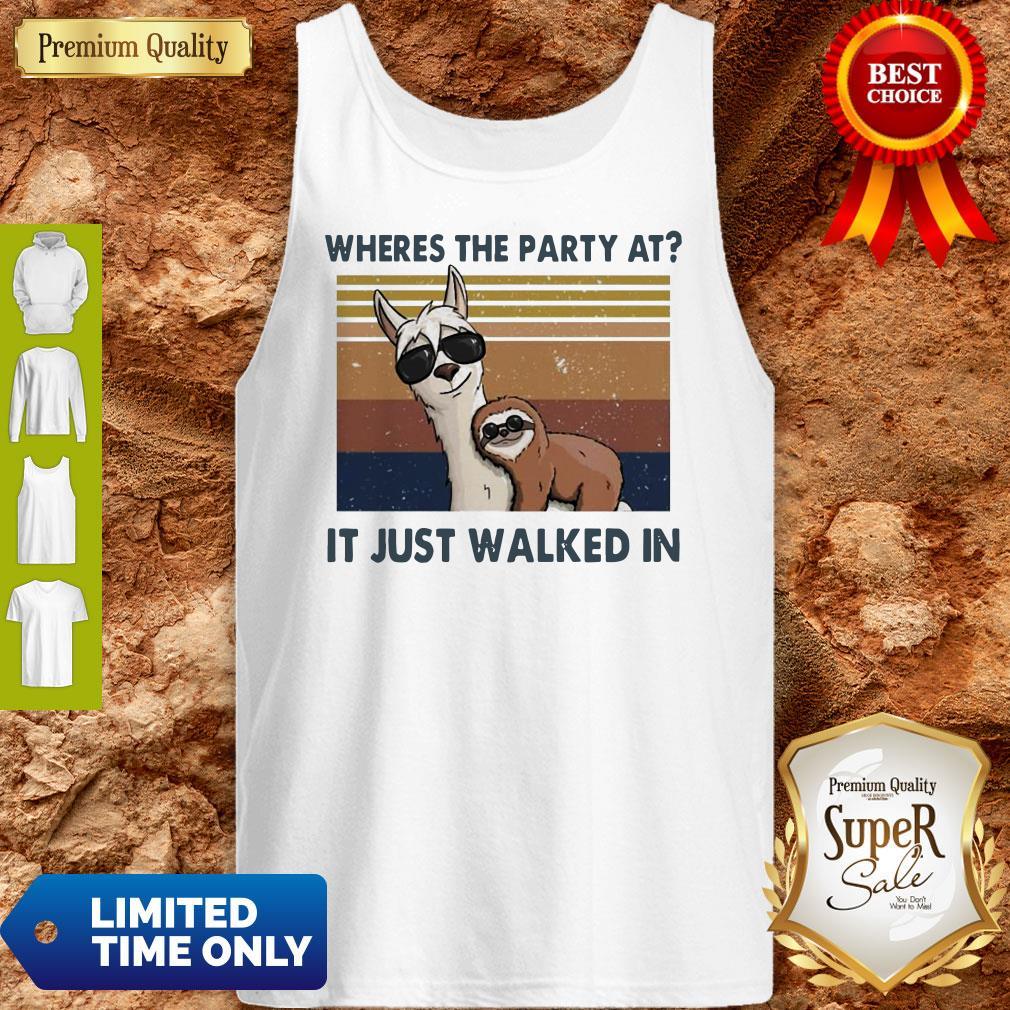 Funny Llama And Sloth Wheres The Party At It Just Walked In Vintage Tank Top