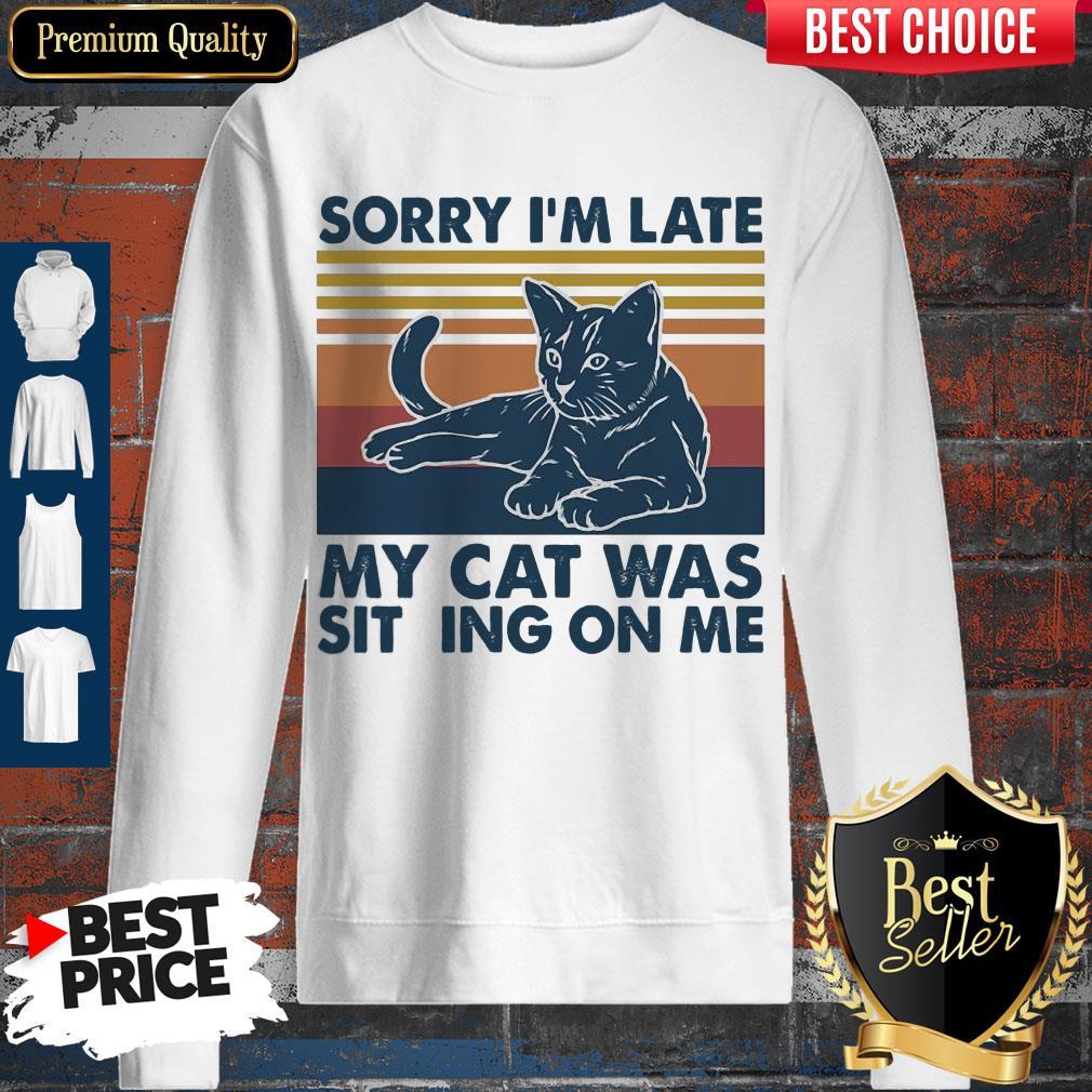 Vintage Sorry I'm Late My Cat Was Sitting On Me Vintage Sweatshirt