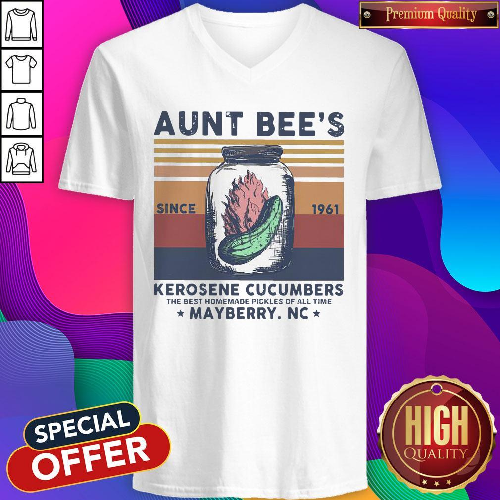Official Aunt Bee Since 1961 Kerosene Cucumbers The Best Homemade Pickles Of All Time Mayberry Nc Vintage V-neck