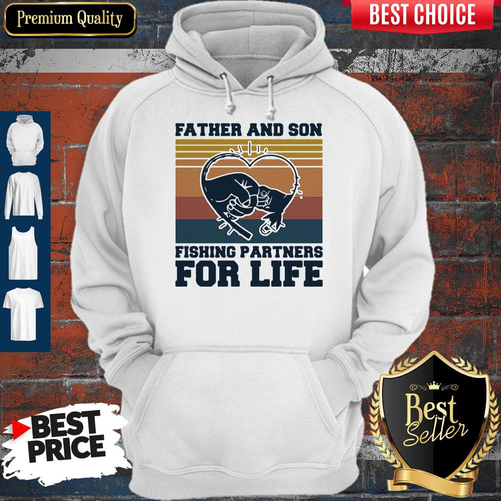 Nice Father And Son Fishing Partners For Life Hand Heart Vintage Hoodie