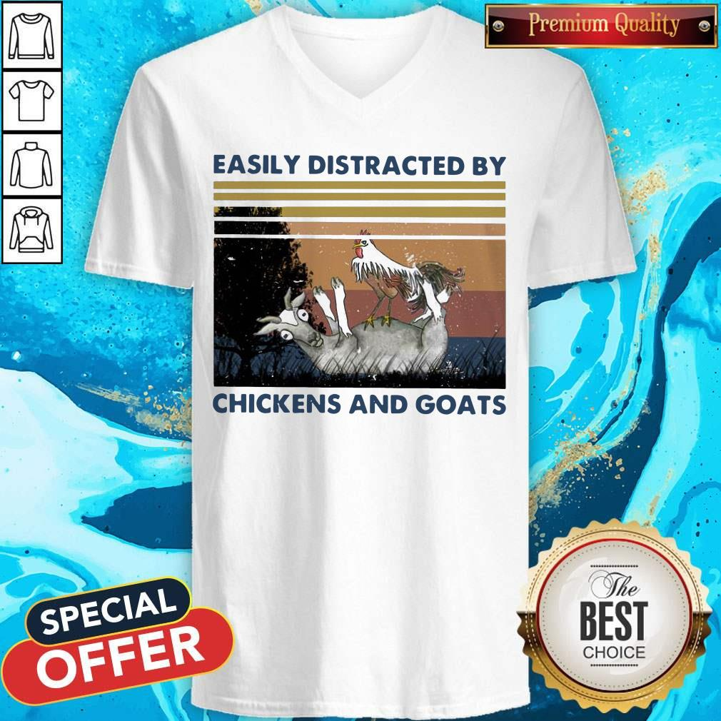 Official Easily Distracted By Chickens And Goats Vintage V-neck