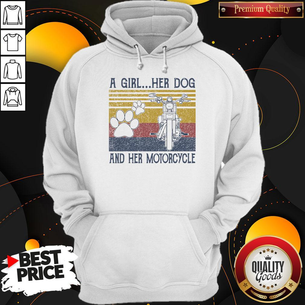 Perfect A Girl Her Dog And Her Motorcycle Vintage Hoodie