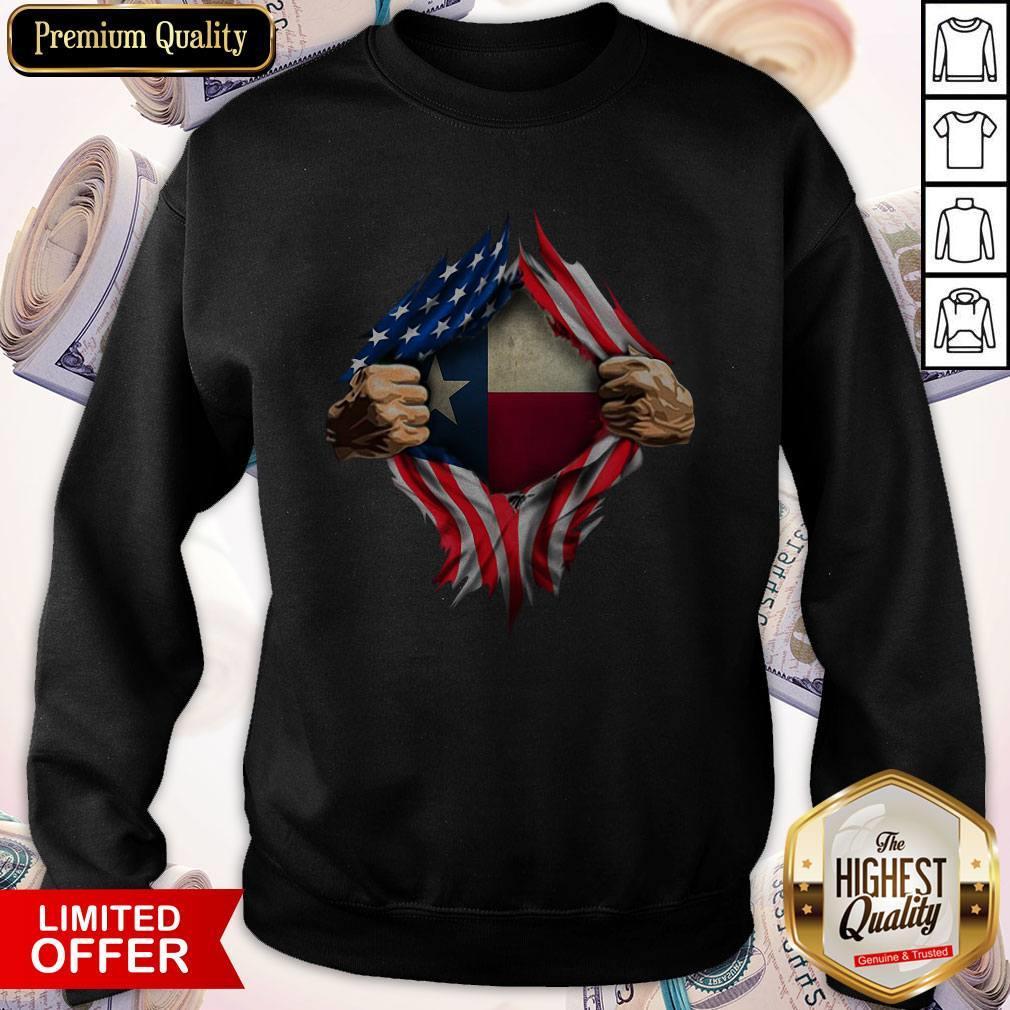 Perfect American Flag Texas Proud Inside Me Sweatshirt