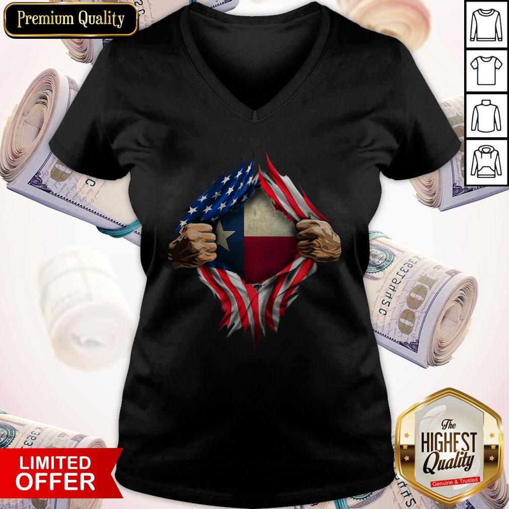Perfect American Flag Texas Proud Inside Me V-neck