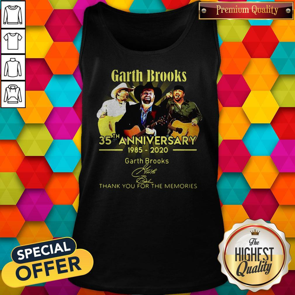 Good Garth Brooks 35th Anniversary 1985 2020 Thank You For The Memories Signatures Tank Top