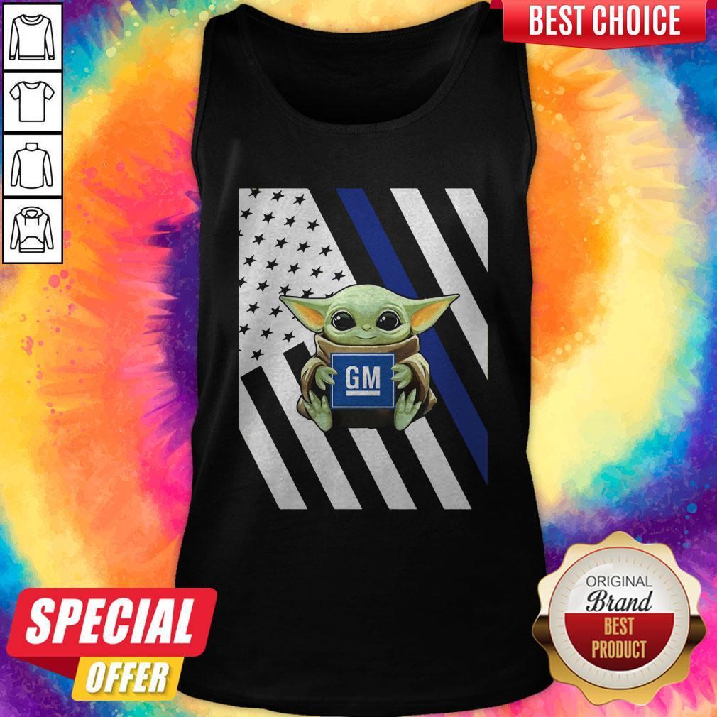 Official American Flag Baby Yoda Hug General Motors Tank Top