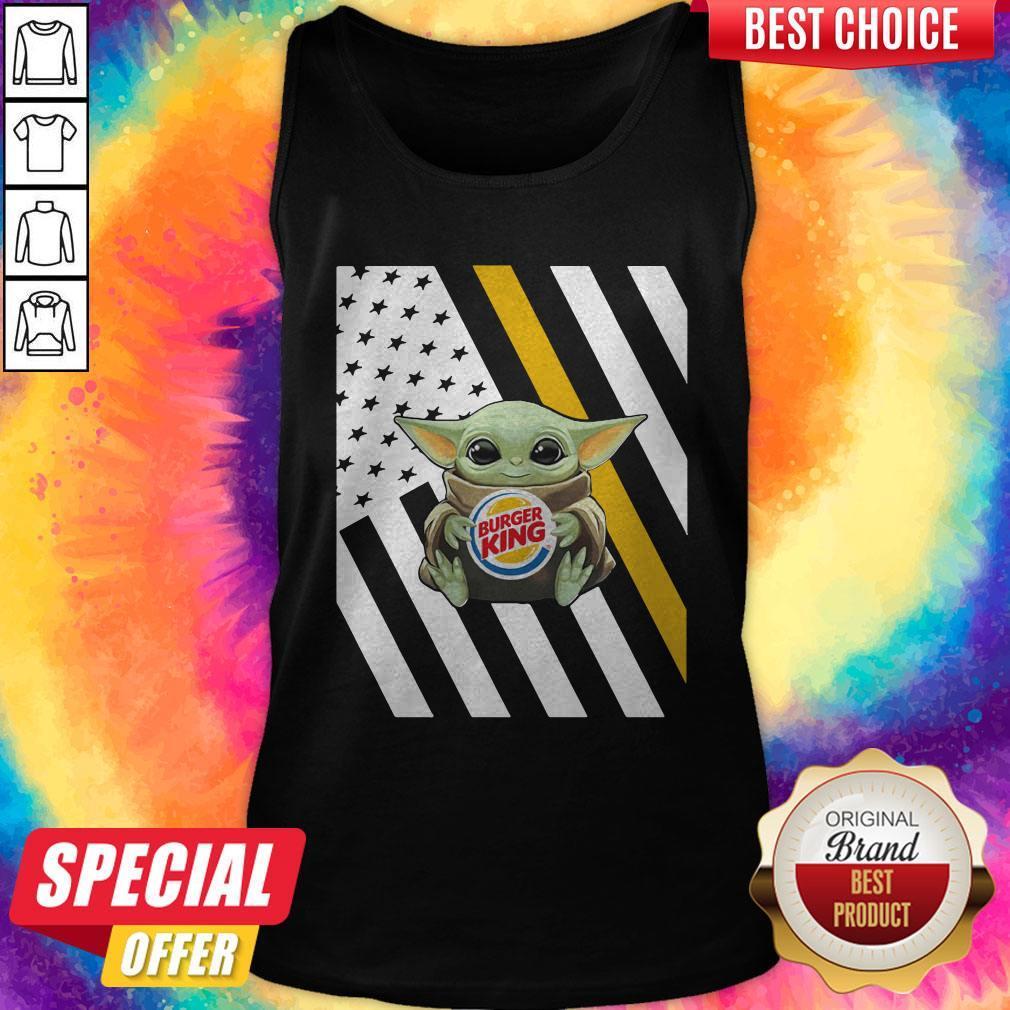 Premium American Flag Baby Yoda Hug Burger King Tank Top
