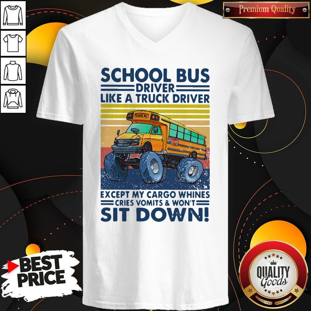 Pretty School Bus Driver Like A Truck Driver Sit Down Vintage V-neck
