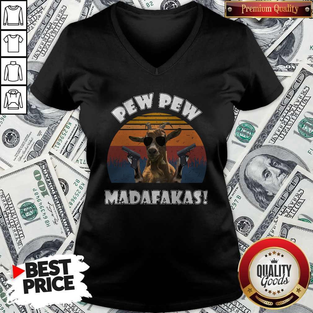 Top Goat Pew Pew Madafakas Vintage V-neck