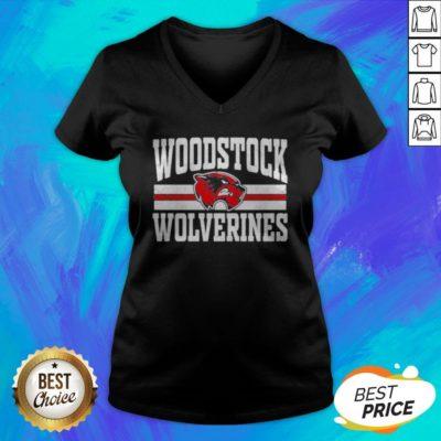 Top Woodstock High School Wolverines Logo V-neck - Design By Earstees.com