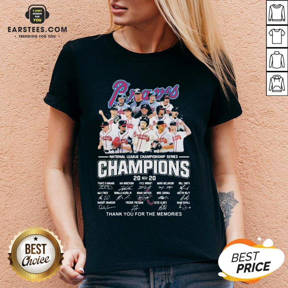 Nice Atlanta Braves National League Championship Series Champions 2020 Thank You For The Memories Signatures V-neck - Design By Earstees.com