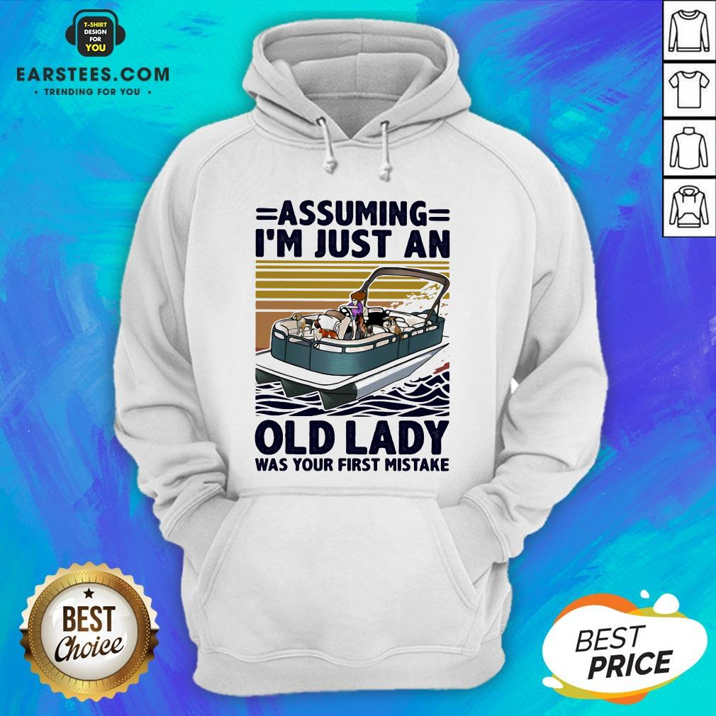 Awesome Pontoon Assuming I'm Just An Old Lady Was Your First Mistake Vintage Retro Hoodie - Design By Earstees.com
