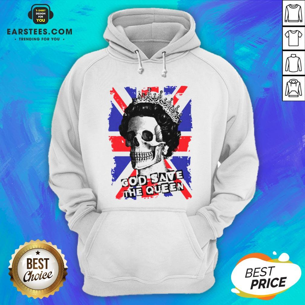 Awesome Skull God Save The Queen American Flag Hoodie - Design By Earstees.com