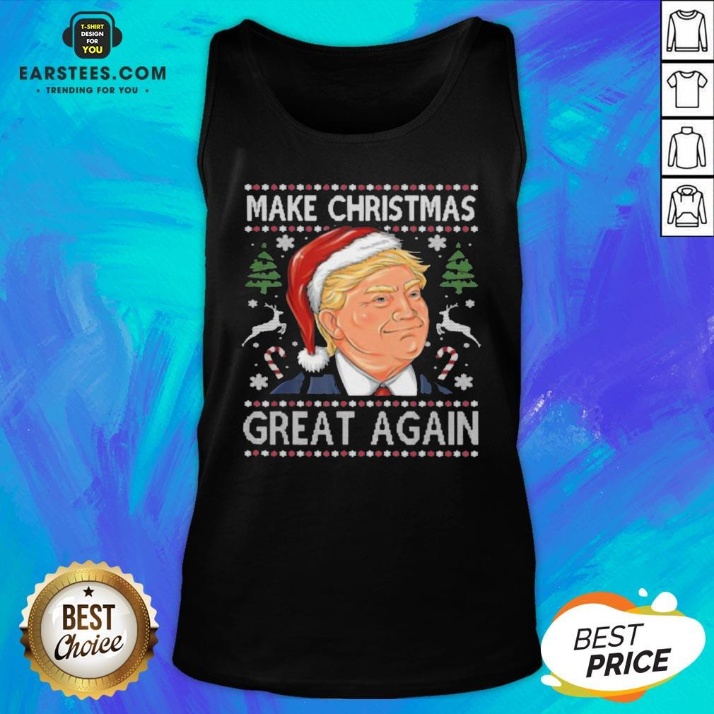 Awesome Trump Make Christmas Great Again Funny Ugly Christmas Tank Top- Design By Eerstees.com