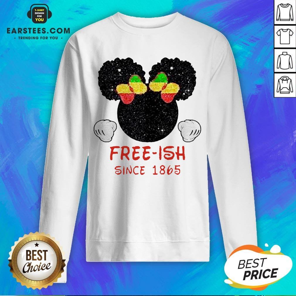 Disney Minnie Mouse Black Free-ish Since 1865 Sweatshirt - Design By Earstees.com