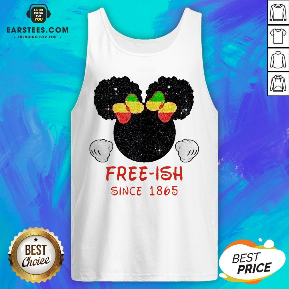 Disney Minnie Mouse Black Free-ish Since 1865 Tank Top - Design By Earstees.com
