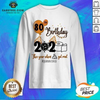 Funny 80th Birthday 2020 The Year When Shit Got Real Quarantined Coronavirus Toilet Paper Sweatshirt - Design By Earstees.com