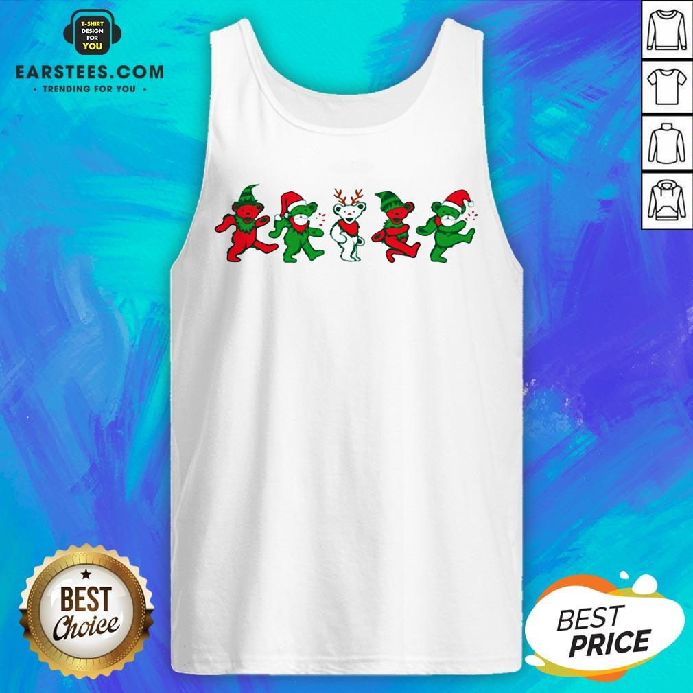 Funny Grateful Dead Bear Christmas Tank Top - Design By Earstees.com