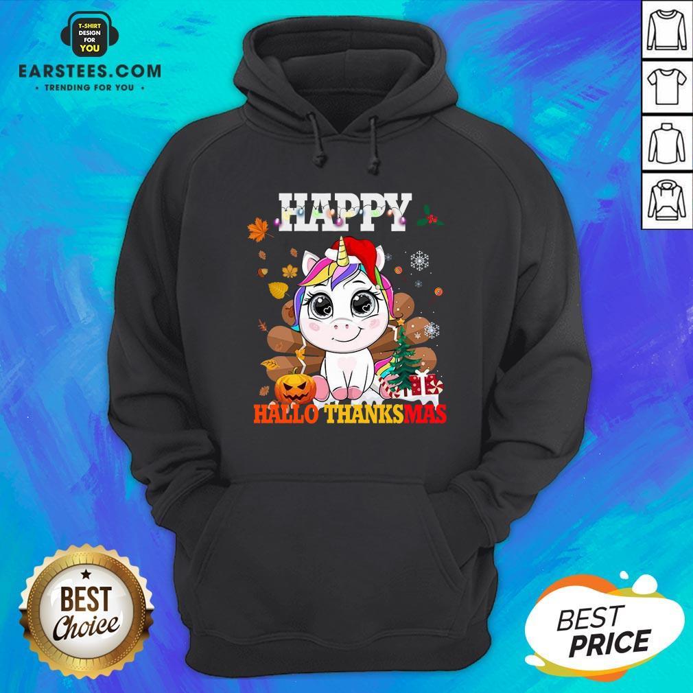 Funny Unicorn Happy Hallothanksmas Hoodie - Design By Earstees.com