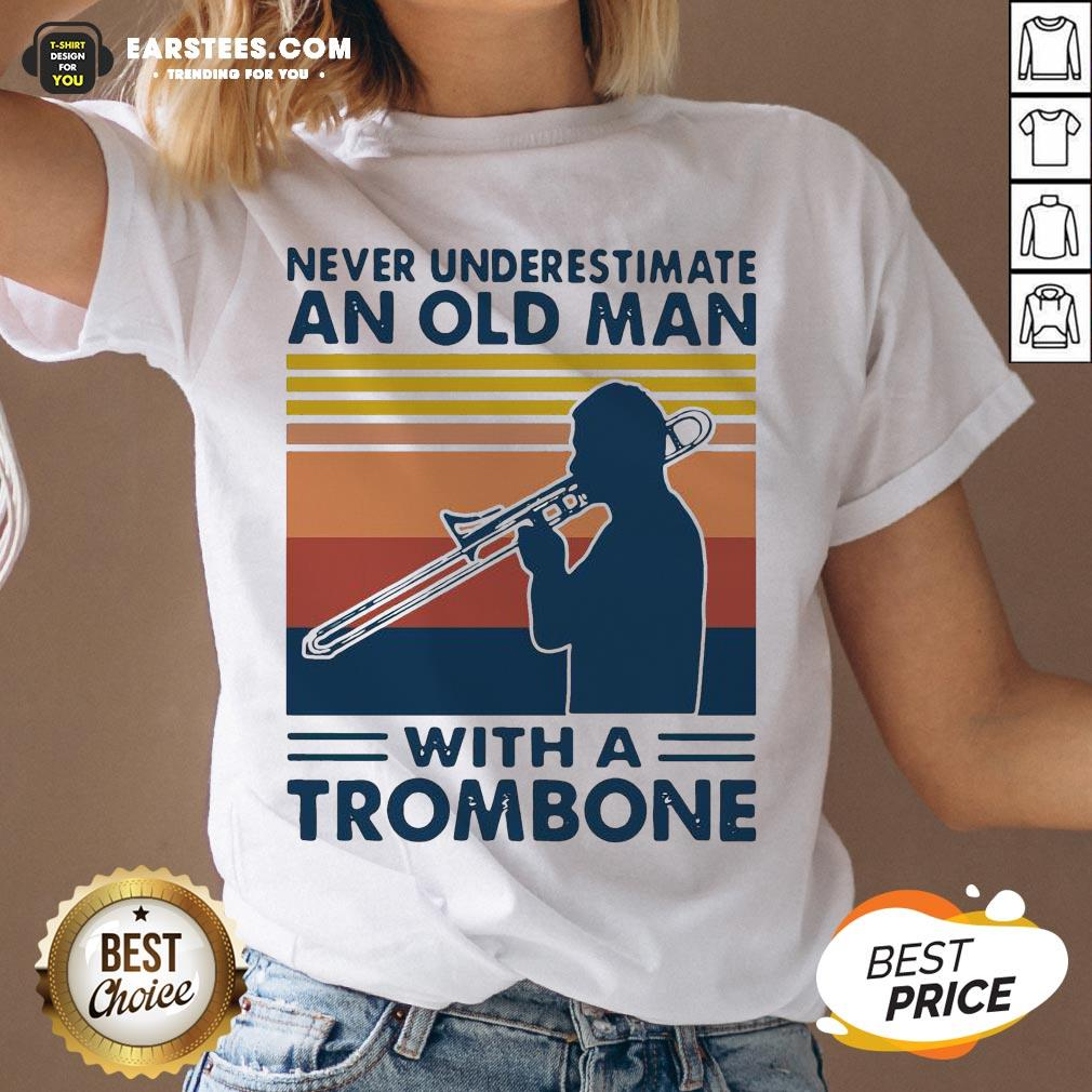 Never Underestimate An Old Man With A Trombone Vintage Retro V-neck - Design By Earstees.com