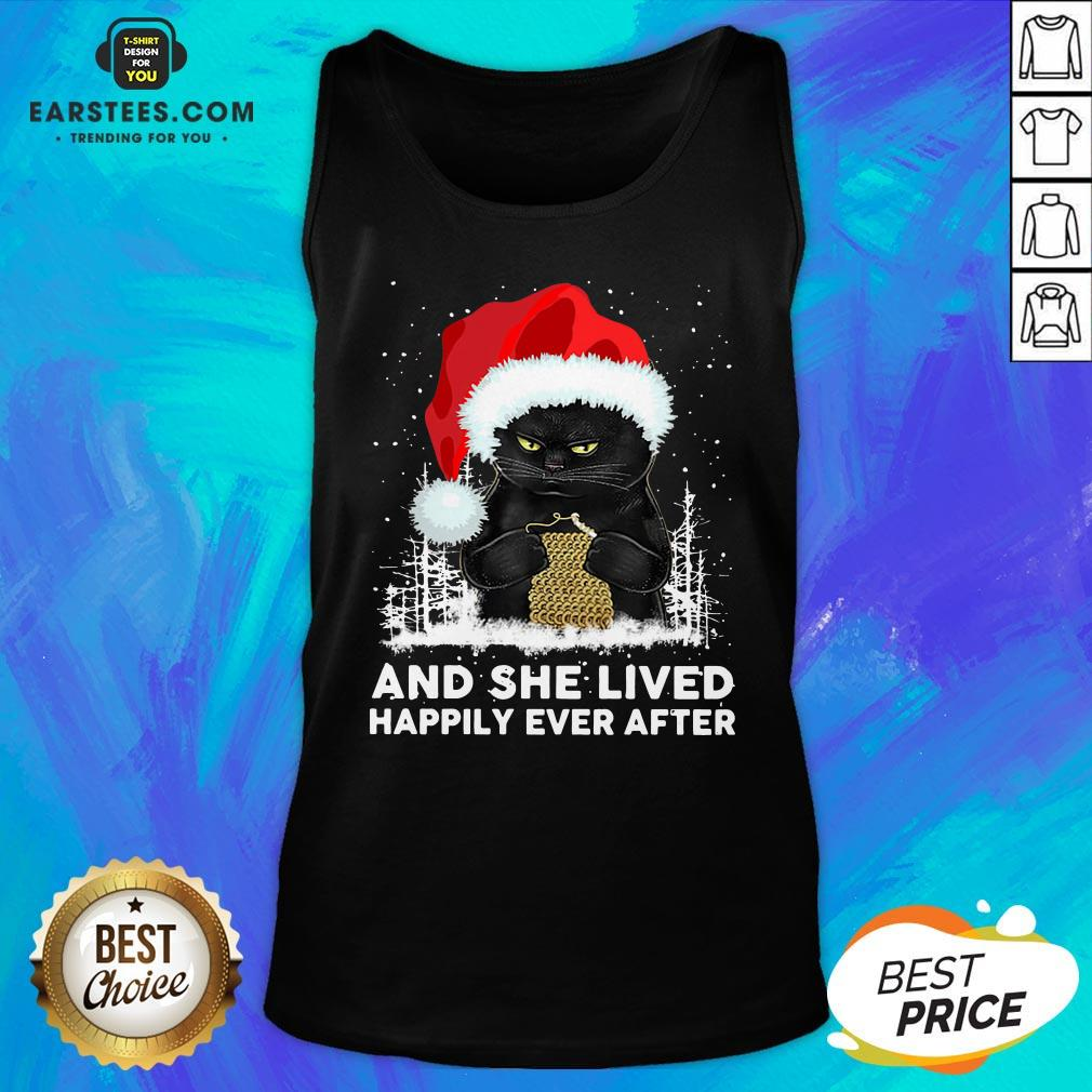 Official Black Cat And She Lived Happily Ever After Christmas Tank Top - Design By Earstees.com