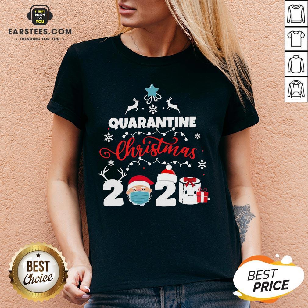Official Xmas Quarantine Christmas 2020 Social Distancing Christmas V-neck- Design By Earstees.com