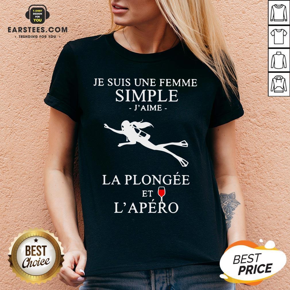 Premium Scuba Diving Je Suis Une Femme Simple J'aime La Plongée Et L'apéro V-neck - Design By Earstees.com