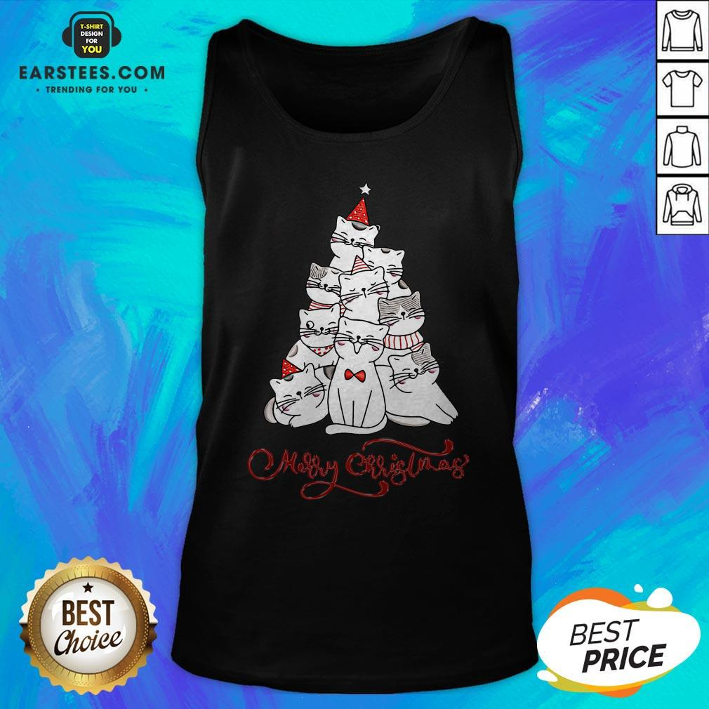 Hot Cats Merry Christmas Tree Tank Top - Design By Earstees.com