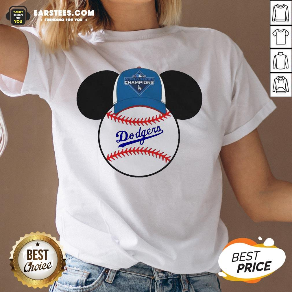 Hot L.A Dodgers Mickey Mouse Champions 2020 V-neck - Design By Earstees.com