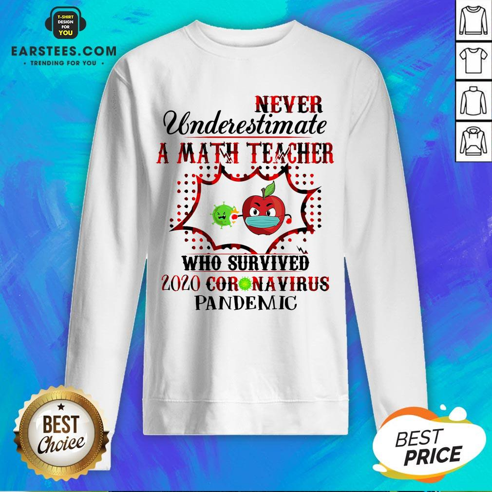 Official Never Underestimate A Math Teacher Who Survived 2020 Coronavirus Pandemic Sweatshirt- Design By Earstees.com