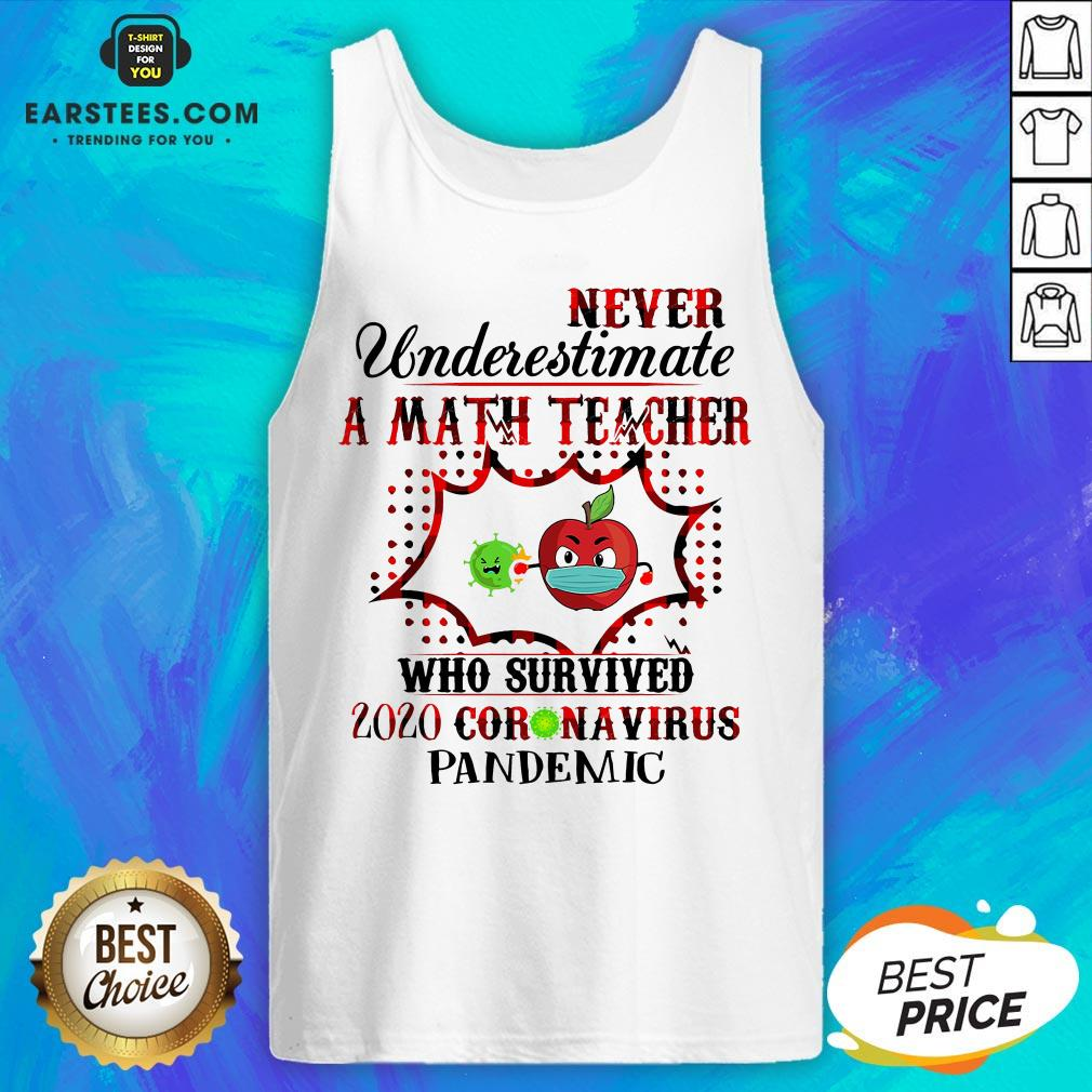 Official Never Underestimate A Math Teacher Who Survived 2020 Coronavirus Pandemic Tank Top - Design By Earstees.com
