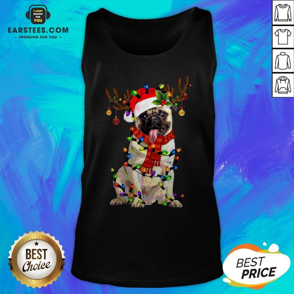 Original Santa Pug Reindeer Merry Christmas Tank Top- Design By Earstees.com