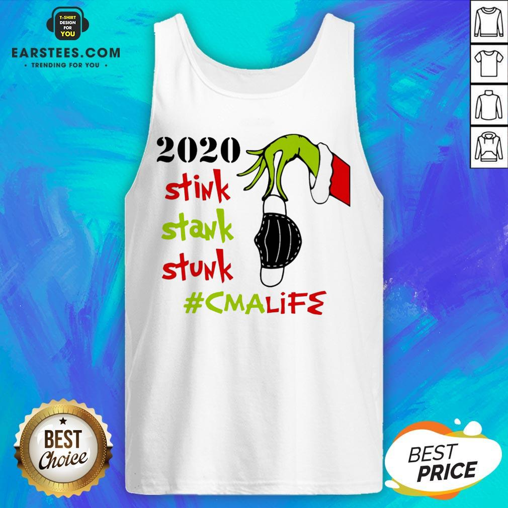 Pretty The Grinch Hand Holding Mask 2020 Stink Stank Stunk #Lpnlife Christmas Tank Top - Design By Earstees.com