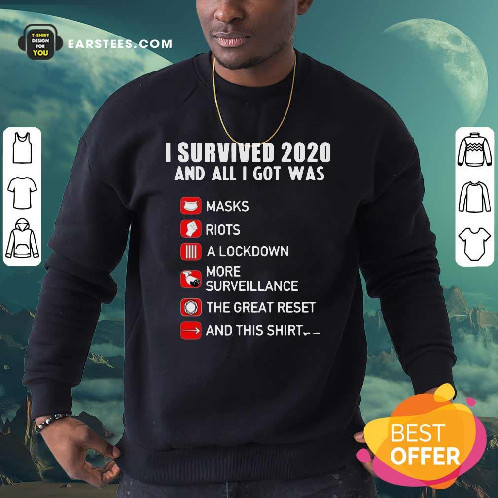 I Survived 2020 And All I Got Was Masks Riots A Lockdown More Surveillance The Great Reset And This Sweatshirt - Design By Earstees.com