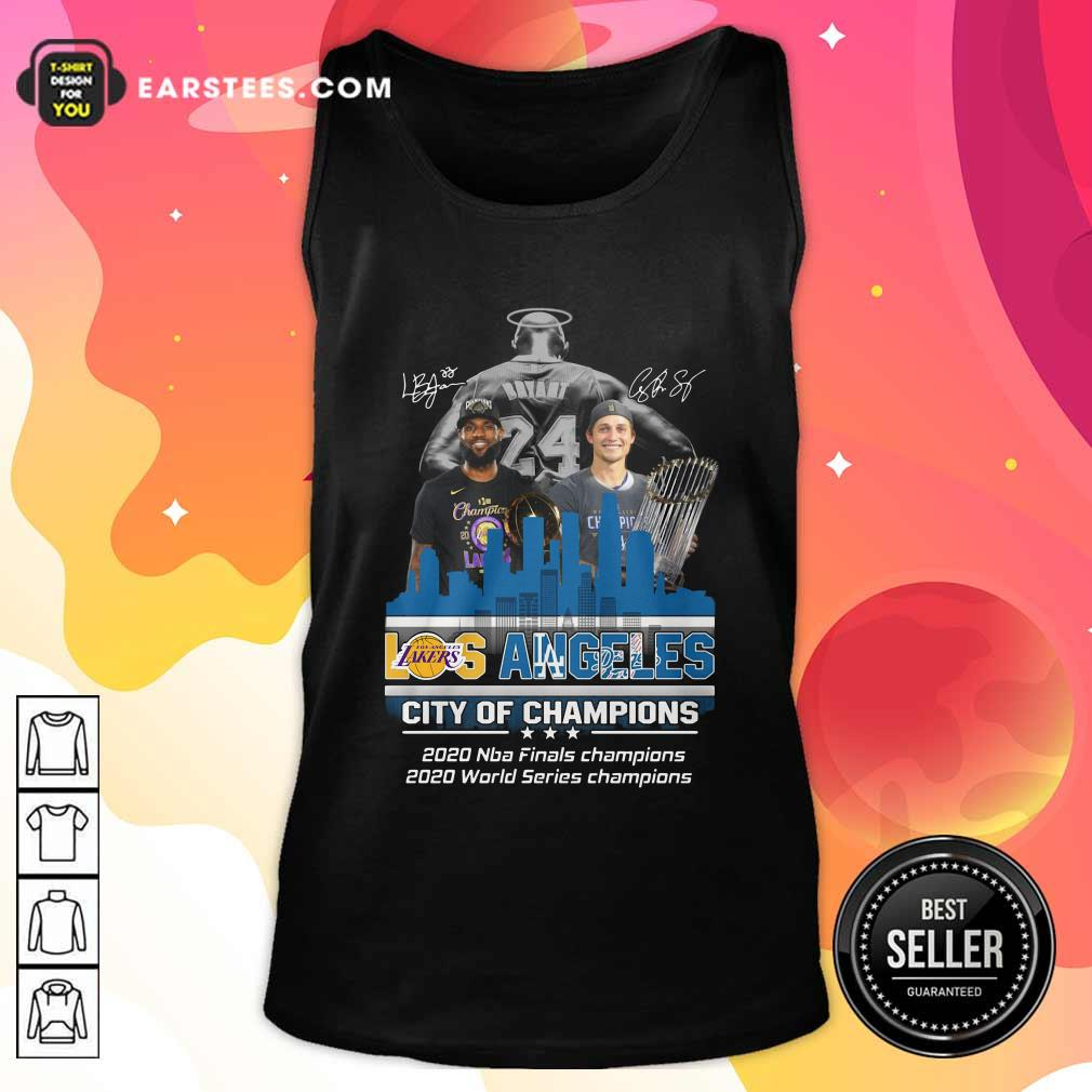 Kobe Bryant LeBron James And Corey Seager Los Angeles Lakers Dodgers City Of Champions 2020 Signatures Tank Top - Design By Earstees.com