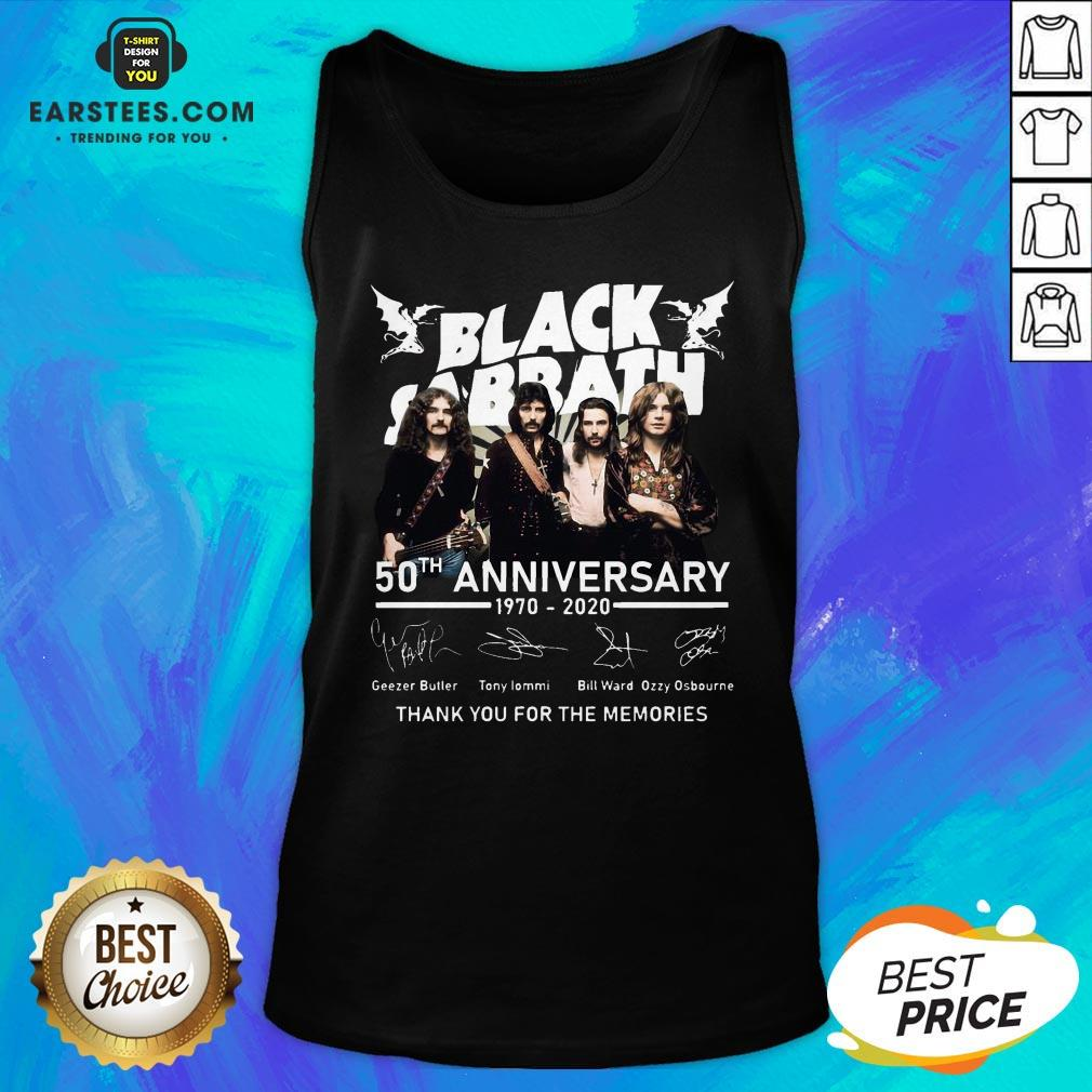 Awesome Black Sabbath 50th Anniversary 1970 2020 Thank You For The Memories Signatures Tank Top - Design By Earstees.com