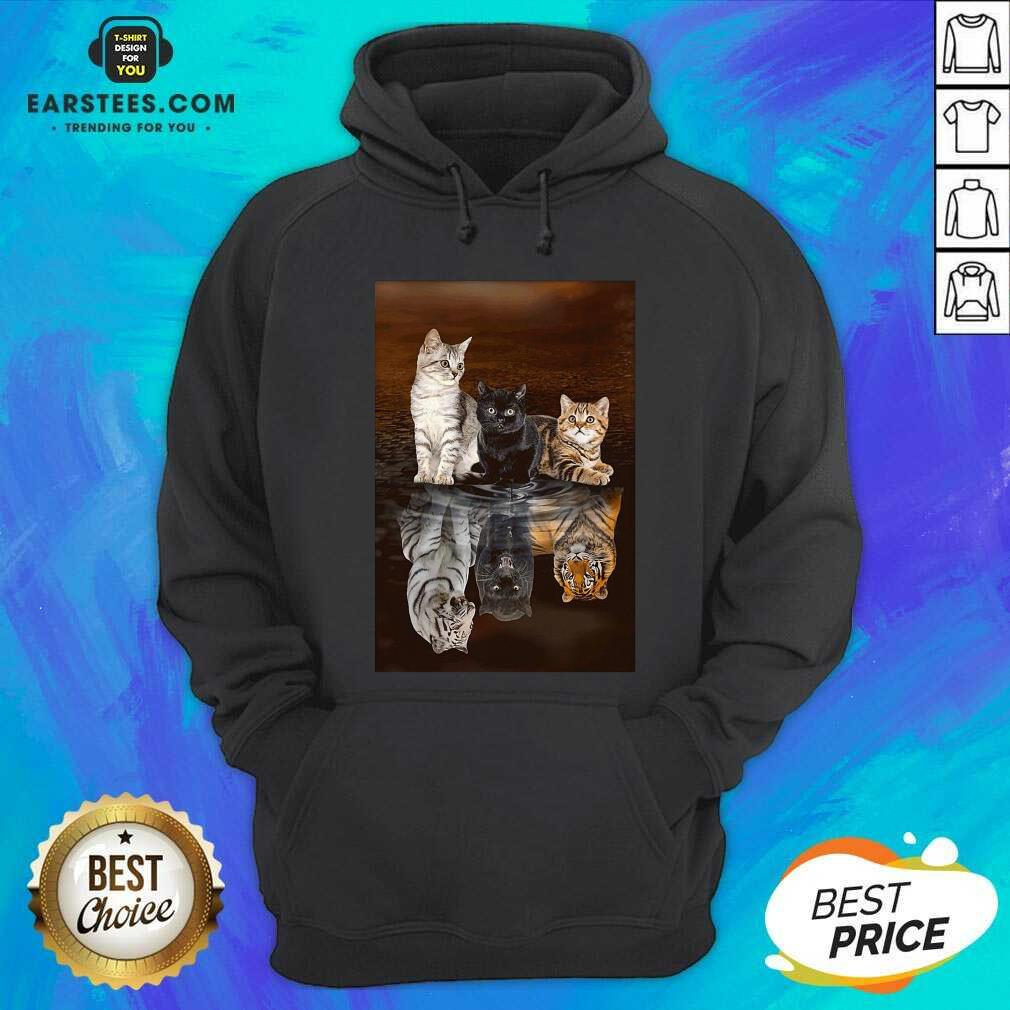 Awesome Three Cat Tiger Reflections 5d Diamond Diy Hoodie - Design By Earstees.com